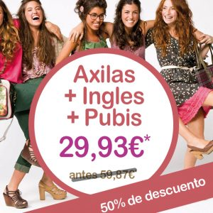 Pack Axilas + Ingles + Pubis (8 sesiones): 29,93€/sesión